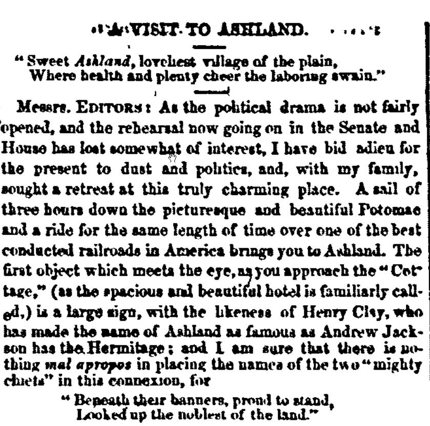 A Visit to Ashland - letter from 1860