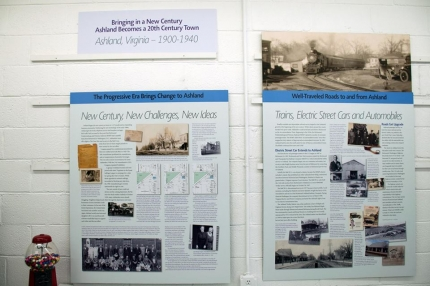 Panels describe developments and challenges of the 1900-1940 era in Ashland, VA.